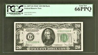 "$20 1934C Federal Reserve Note (DA) Cleveland ""Old Back""  PCGS Gem New 66PPQ"