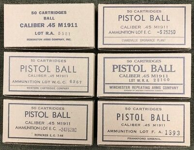 M1911 Ww2 New Replica 50 Round Ammo Boxes - 6 Label Display Set Of All Suppliers
