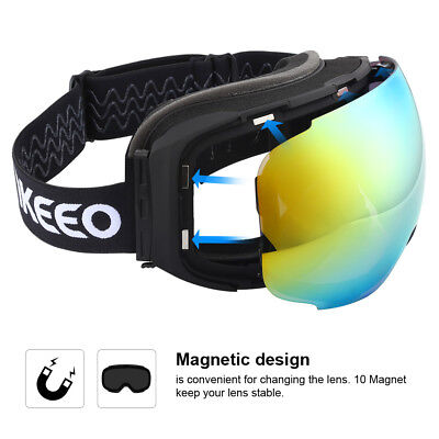 b2683a81144 Enkeeo Ski Goggles Anti-Fog 100% UV400 Protection For Skiing Winter Sports  Gold