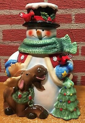 Beautiful Christmas JCPenney Cookie Jar - Snowman & Moose - In Original Box EX