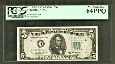 $5 1950B Federal Reserve *STAR* Note (D*) Cleveland PCGS Very Choice New 64PPQ