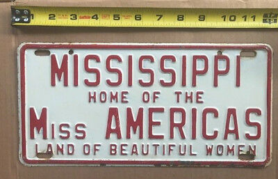 """1960 MISSISSIPPI license plate  """"Home of Miss Americas"""""""