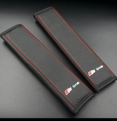Audi S Line Car Leather 2x Seat Belt Covers Pads Embroidery Accessories Edition