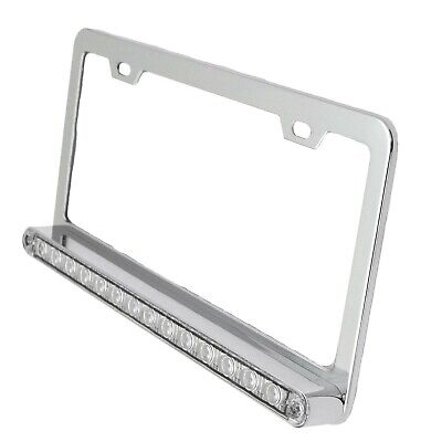 License plate frame chrome plated 14 Amber LEDs clear lens 2 hole mount 3 wire