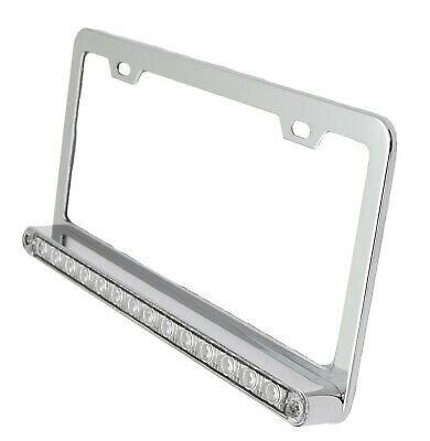 UP License Plate Frame Chrome 14 Amber LED Clear Lens 2 Hole Mount 3 Wire #39745