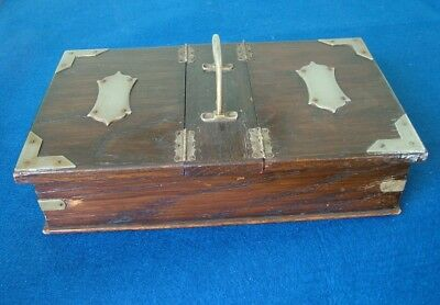 Victorian Double Lidded Oak Cigar /cigarette Box Plated Mounts & Central Handle