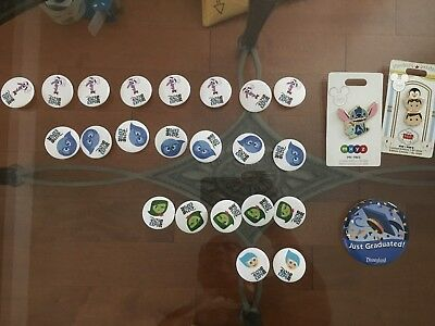 D23 Disney Pins and Button Lot (Stitch MXYZ and Marry Poppins Tsum Tsum)