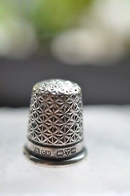 Antique English Sterling Silver Daisy Pattern Thimble Hallmarked