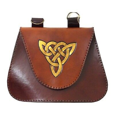 Celtic Triangle Leather Belt Pouch Bag LARP  Hand Made To Order
