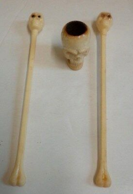 vintage Halloween Skull Swizzle sticks and Skull Pipe or Candle holder