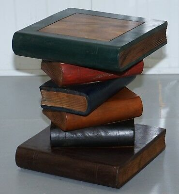 Solid Hand Carved Wood Scholars Library Stack Of Books Side End Lamp Wind Table