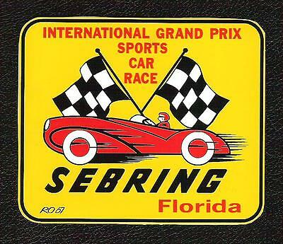 Sebring International Grand Prix Sports Car Race Sticker, Vintage Racing Decal