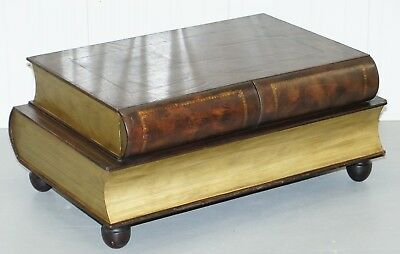 Rare Large Leather Bound Theodore Alexander Scholars Books Coffee Table Drawers