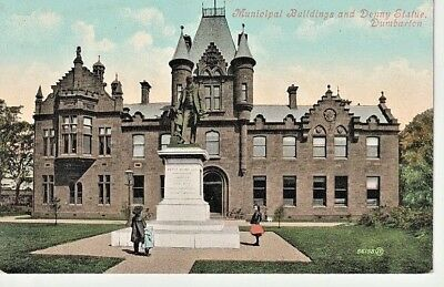Early DUMBARTON - Municipal Buildings and Denny Statue, children looking