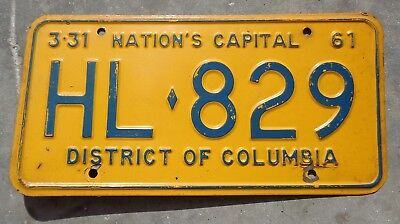 District of Columbia 1961 license plate #   HL - 829