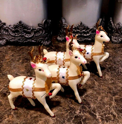 Vintage Set of 4 Hard Plastic Christmas Reindeer from Japan