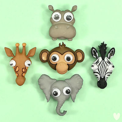 DRESS IT UP Buttons Lifes A Zoo 10417 Hippo Zebra Monkey Giraffe Elephant Googly