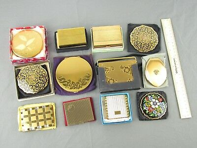 Vintage Makeup Powder Mirror Compact Lot of 12 Stratton Volupte Gold Toned