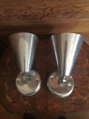 Pair of Vintage Mid Century Lincoln Lighting Pierced Aluminum Wall Cone Sconce