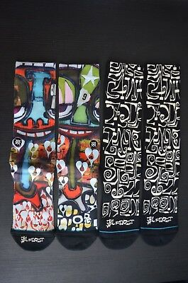 STANCE Letters Crew Socks sz L Large (9-12) Hearts & New York Artist Phil Frost