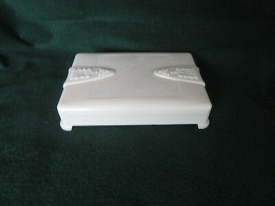 Antique Art Deco 1930s Cream Bakelite?/Plastic Jewellery Box-Wilkins I.O.M.