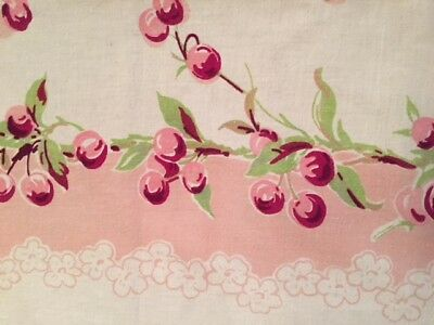 """Vintage Red Cherry Cherries Printed 1950's Tablecloth Linen Cotton 48""""X64"""" Mint"""