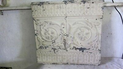 Antique 24 x 24 1/2 Tin Ceiling Tile Floral Pattern Architectural Salvage
