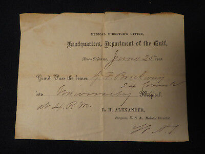 Antique 1863 Civil War Headquaters Department Of The Gulf Medical Pass