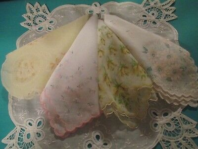 4 Vintage Handkerchiefs Hankies~ Sheer Nylon