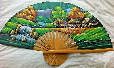 Large Vintage Hand Painted Silk & Bamboo Fan ~ Decorative & Interior Design