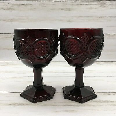 "Avon Cape Cod Ruby Red Glass Water Goblet 6"" Pedestal Lot of 2"