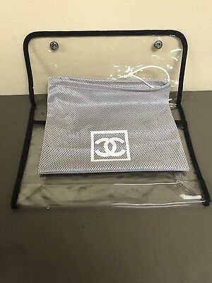 Authentic Chanel CC Logo Grey Mesh & Clear Plastic Snap Dustbag D3F