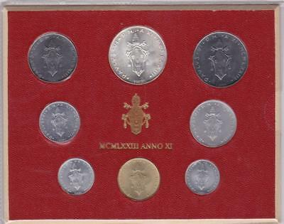 VATICAN 1973 Official set with L.500 silver UNC in official box B29410