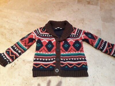 John Lewis boys cable knit cardigan in brown and orange, age 12-18 months