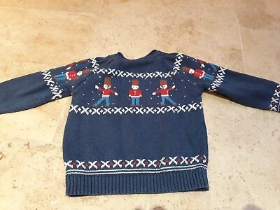 John Lewis knitted navy Christmas jumper with soldier pattern age 12-18 months
