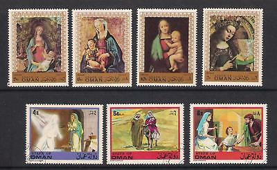 State of Oman used stamps - 12 stamps, Madonna & Child etc, MM/used (2 scans)