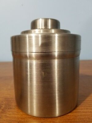"""CANISTER: silver metal, heavy, MADE IN JAPAN, just one, lined lid, 4"""" tall"""