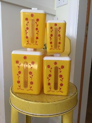 Vintage Plastic  Canister Set Yellow with Windows