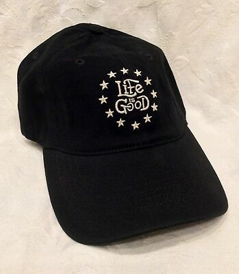 New LIFE IS GOOD Mens Large XL Black White STARS Stretch SUEDED Baseball Cap HAT