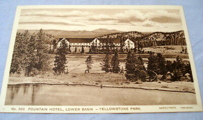 Antique Postcard Yellowstone Park Haynes Photo #503 Fountain Hotel Lower Basin