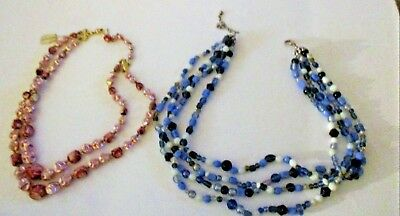 Lot Of 2 Vintage Costume Jewelry Necklaces, Blue & White, Pink Crushed Beads