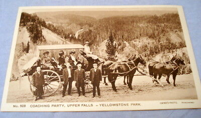 Antique Postcard Yellowstone Park Haynes Photo #523 Coaching Party Upper Falls