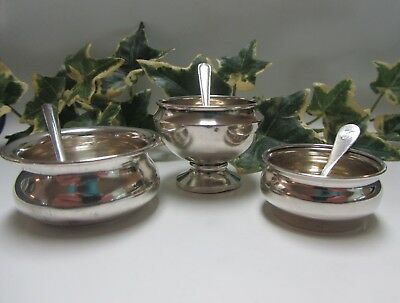 ~ Lot of Three Sterling Silver Open Salt Cellar Dips & Salt Spoons ~