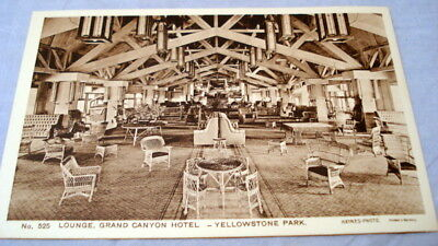 Antique Postcard Yellowstone Park Haynes Photo #525 Lounge, Grand Canyon Hotel