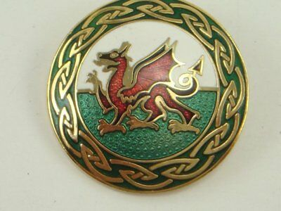 CELTIC SEA GEMS Cloisonne Enamel Dragon Pin Brooch Round