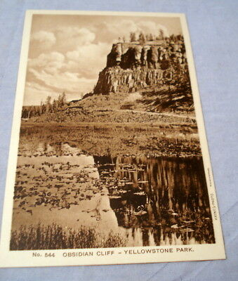 Antique Postcard Yellowstone Park Haynes Photo #544 Obsidian Cliff