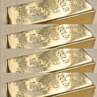 "4 Fake fine GOLD bullion Bar paper weight 6"" prop heavy brass polished 999.9 B"