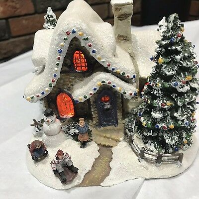 Thomas Kinkade Sweetheart Cottage Lighted Christmas Village House Teleflora 2006