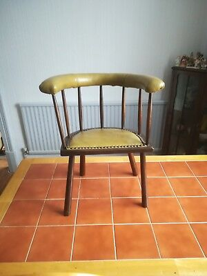 !!REDUCED!! Victorian Child's green leather padded, stick back chair.