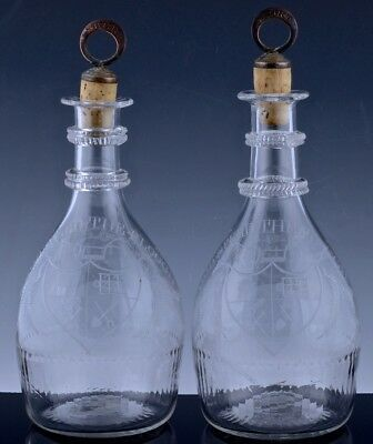 VRY RARE PAIR c1790 WATERFORD IRISH GLASS GOD SPEED THE PLOUGH WHISKEY DECANTERS